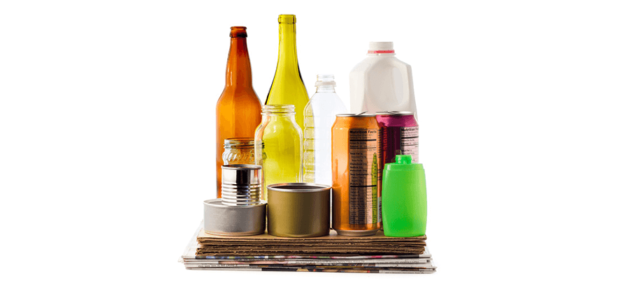 Recycling Packaging Material Paper Cardboard Bottles Plastic Glass Picture